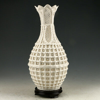 Decoration Dehua Porcelain Hand Carved Hollow Out Vase AAA0265