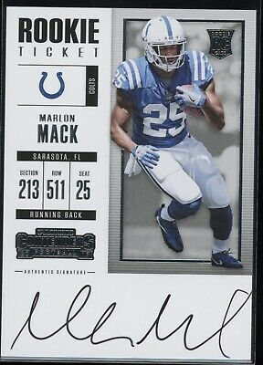 Marlon Mack 2017 Panini Contenders Rookie Ticket Auto Colts Autograph Rc Jfn