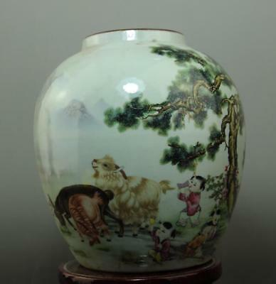 Old chinese hand-made famille rose porcelain pot /yongzheng mark c01