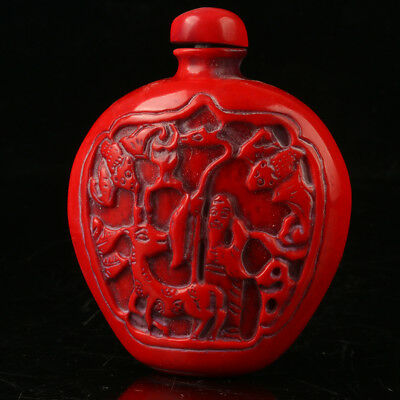 China Exquisite Red Coral Hand Carved Deer & Old Man Snuff Bottle R2007