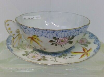 Very Rare Antique Porcelain Teacup and Saucer Set With Butterfly Handle
