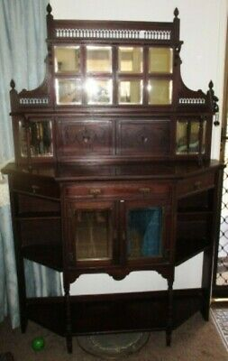 Edwardian sideboard, with bevelled mirror panel on top