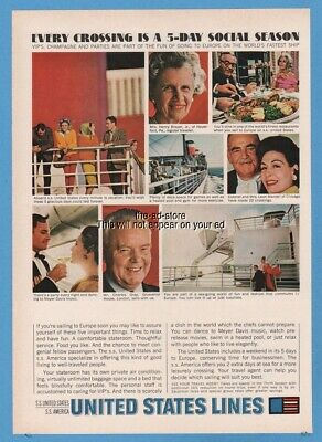 1964 SS America United States Lines Ocean Liner passenger photo vintage print ad