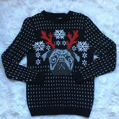 bb96f1aa32bd Divided H&M Christmas Sweater Pug Reindeer Men's Size Small Black Holiday  Party