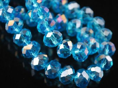 6x8 mm Faceted Rondelle Crystal Glass Loose Spacer Beads Sky Blue AB