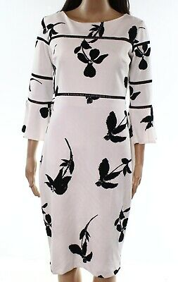 c65996e317c Taylor NEW White Womens Size 2 Bell-Sleeve Floral-Print Sheath Dress  128-