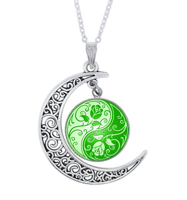 Yin Yang Roes Photo Tibet Silver Glass Crescent Moon Necklace