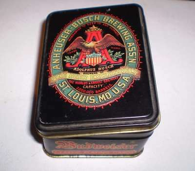 2  packs of playing cards in a tin  -   Budweiser