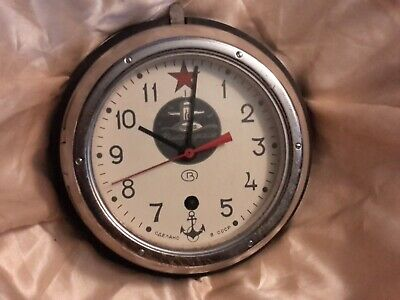 Vintage Soviet Russian Submarine Clock 8 Day Movement Perfect Working Condition