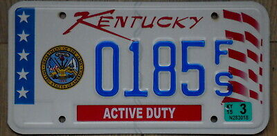 KENTUCKY Department of the Army Active Duty License Plate 0185 FS