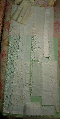 Antique White Work Cutwork Lot Fancy Filet Embroidery Lace Remnants Crafts Doll