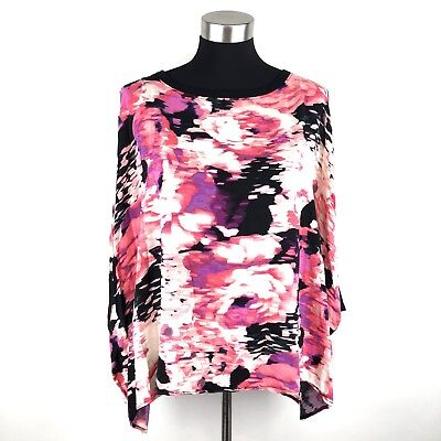 d04c0d6792 Juicy Couture Womens Pink Abstract Print Cold Shoulder Oversized Top Size XL