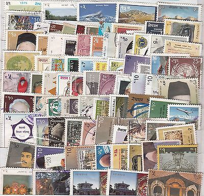 Nepal - 1960 to 2016  - Postage Stamps - Used off paper - 200 different