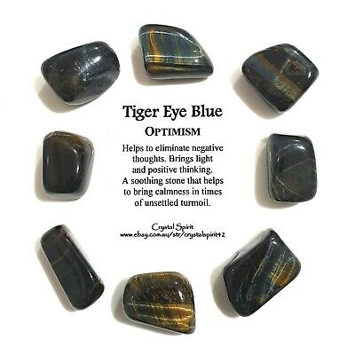 *1* TIGER EYE BLUE Natural Tumbled Stone / Tumble Stone *TRUSTED SELLER*