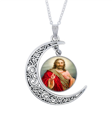 Christian Photo Tibet Silver Glass Crescent Moon Necklace