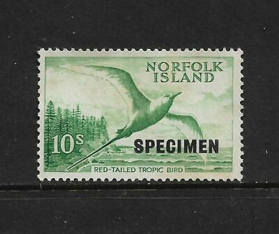 NORFOLK ISLAND 1961 Red Tailed Tropic Bird, 10/-, SPECIMEN opt, mint no gum, MNG