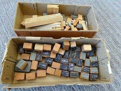 Collection of Old Assorted Small Printing Letter Blocks / Type - Art / Design