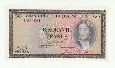 Luxembourg 50 francs 1961 EF/AUNC (center fold) p51 @ low start