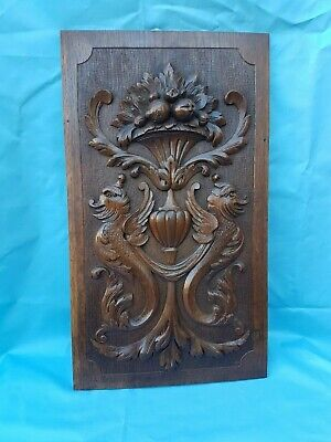 Antique French: Carved Oak Door Panel Richly Decorated Animals  - 19th