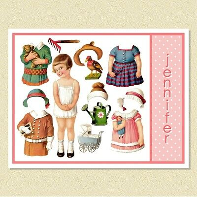 Such A Cutie ~ Vintage Paper Doll ~ Personalized Note Cards (10 Folded)