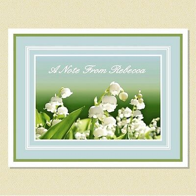 Lovely Lily Of The Valley ~ Personalized Note Cards (10 Folded)