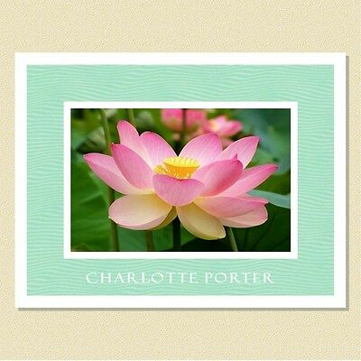 Exquisite Lotus Blossom ~ Personalized Note Cards (10 Folded)