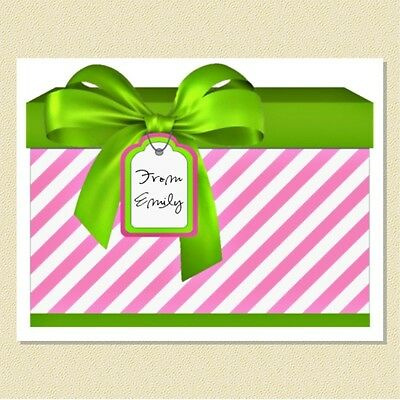 Cute As Can Be ~ Personalized Note Cards ~ Adorable Gift Box Theme (10 Folded)