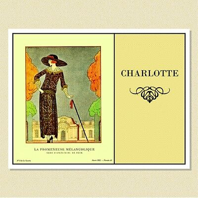 1920s French Fashion (Barbier) Personalized Note Cards (10 Folded)
