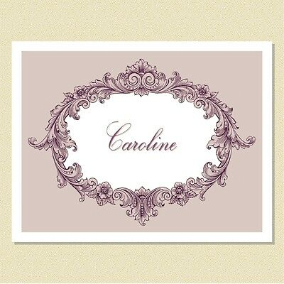Victoriana In Violet ~ So Lovely ~ Personalized Note Cards (10 Folded)