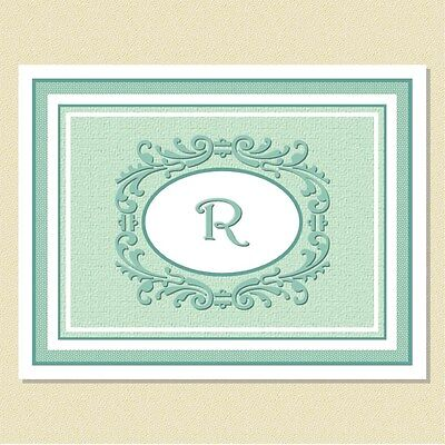 Monogram Note Cards ~ Lovely Scrolling Motif ~ Personalized (10 Folded)