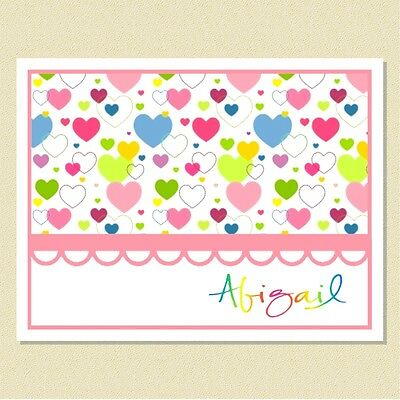 Sweet Little Hearts In A Rainbow Of Colors ~ Personalized Note Cards (10 Folded)