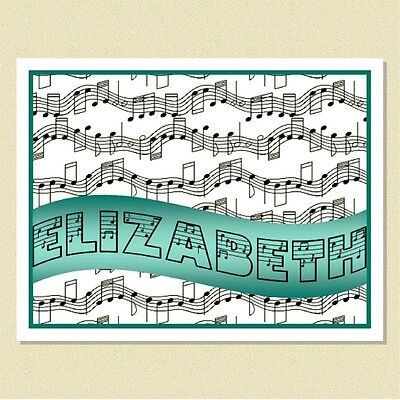 """So Cute ~ """"Note"""" Note Cards For The Music Enthusiast ~ Personalized (10 Folded)"""