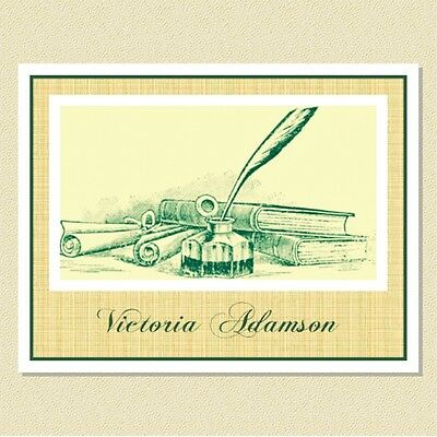 Personalized Note Cards - Charming Antique Illustration (10 Folded)