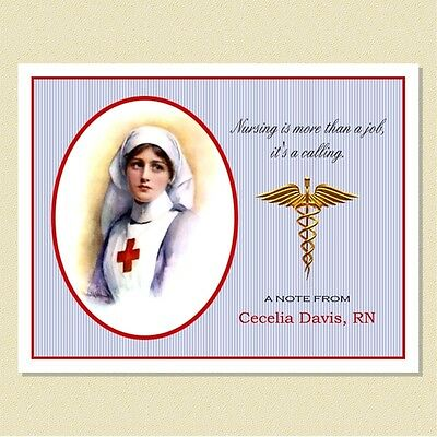 Nursing ~ A History Of Dedication ~ Personalized Note Cards (10 Folded)