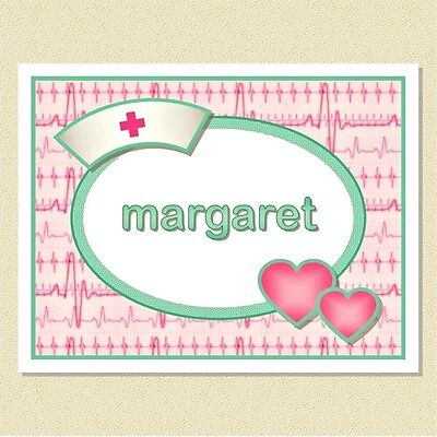 Note Cards For Nurses ~ So Sweet In Pink & Green ~ Personalized (10 Folded)