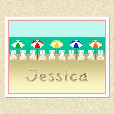 A Day At The Beach ~ Fun Personalized Note Cards (10 Folded)