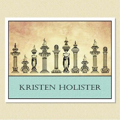 Elegant Grecian Columns - Personalized Note Cards (10 Folded)