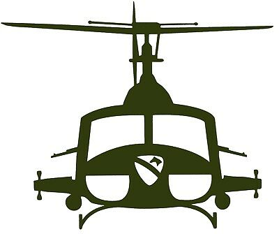 IROQUOIS UH-1 AIR CAV 'HUEY' HELICOPTER- Adhesive, Cut Vinyl Decal, Last 6 years