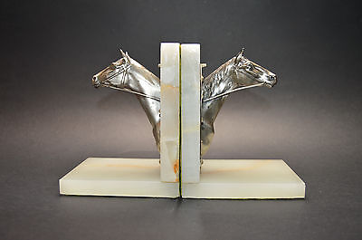 Exquisite Czech Art Deco Silvered Bronze Onyx Stone Horse Book Ends