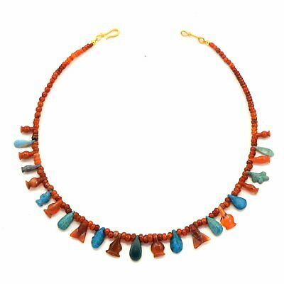 An Egyptian Carnelian and Faience Bead and Pendant Necklace, New Kingdom, ca 155