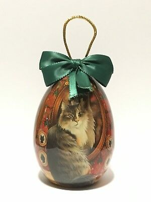 Vintage Paper Mache Egg-Shaped Kitten Christmas Ornament  Enesco Decoupage MINT!