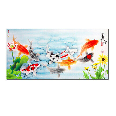 Wall Art China's Wind Feng Shui Koi Fish Painting Decor Printed On Canvas HY2007