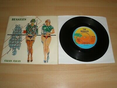 "Buggles 7"" Vinyl Card P/S Clean Clean Island Wip 6584 1980 Synth Ex"