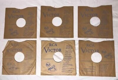 """RCA Victor Blue Print 78 rpm 10"""" Record Sleeves - Lot of 6"""