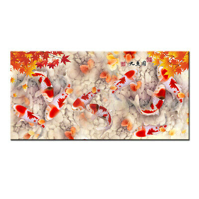 Art Wall Home Decor HD print oil painting Feng Shui Fish Koi Painting on Canvas