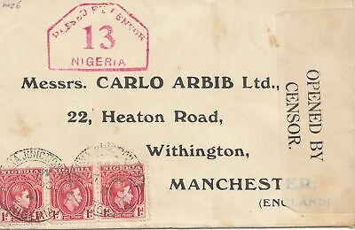 Nigeria: 1941: letter to Manchester - Opened by Censor - Lagos