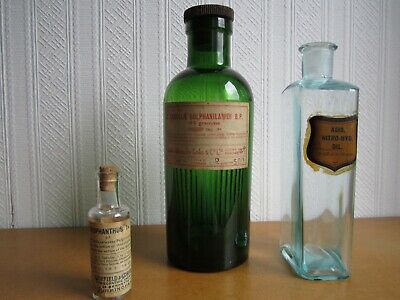 Vintage Collectable Apothecary Chemist Bottles With Original Labels
