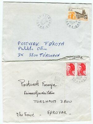 France to Faroe Islands Lot of 2 Covers Scarce Destination