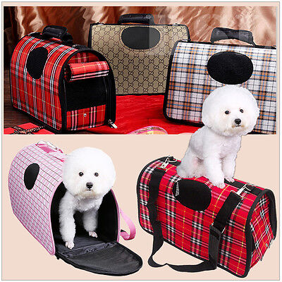 M Black n White Pet Dog Cat Puppy Portable Travel Carry Carrier Tote Cage Crate