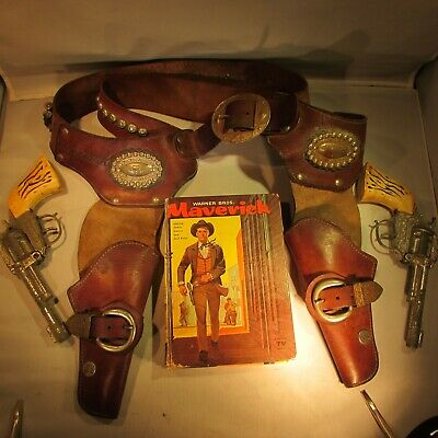 1950's-60's Maverick Double Holsters Book Plus Pair of Guns